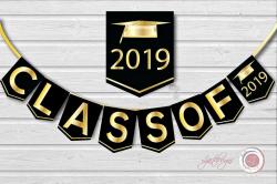 Digital Black and Gold Graduation Banner, Class Of, Graduate, Clipart,  Grad, Graduation Party Decorations,Scrapbook Supplies, Crafts