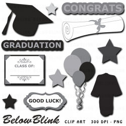 Graduation Clipart Clip Art Digital Scrapbooking Commercial Use - printable  clipart - Instant Download - DP361
