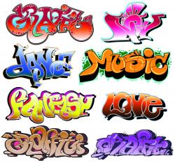free vector Beautiful graffiti font design 03 vector | Art boards ...