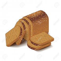 Whole grain sliced bread isolated on white vector » Clipart ...