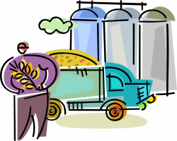 Farmer with Grain Delivery to Storage Silos - Vector Image