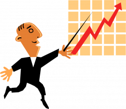 Entrepreneur Points to Sales Chart - Vector Image