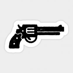 Magnum Gun Stencil Silhouette