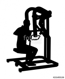Sport man exercises in gym on fitness machine vector ...