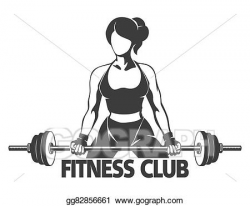 Vector Art - Woman with barbell fitness emblem. EPS clipart ...
