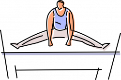 Gymnast Performs on Uneven Bars - Vector Image