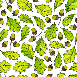 Seamless Endless Pattern of Oak Leaves and Acorns. Green and ...
