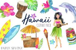 Watercolor Hawaii Clipart - Tropical Island - Summer Clipart ...