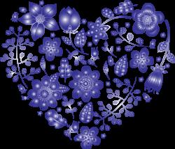 Clipart - Violet Floral Heart No Background