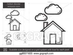 Vector Art - Carbon dioxide emission line icon. Clipart ...