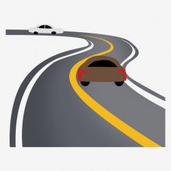 Black Highway Dividing Line Illustration, Two Cars ...