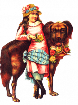 Free Victorian Girl Big Dog Clipart   ClipArtPlace