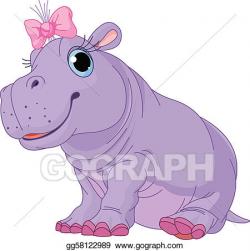 Vector Art - cartoon baby hippo girl. EPS clipart gg58122989 ...