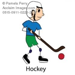 Clip Art Illustration of a Stick Boy Playing Street Hockey