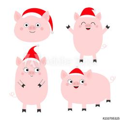 Pig piglet set. Cute cartoon funny baby character. Hog swine ...