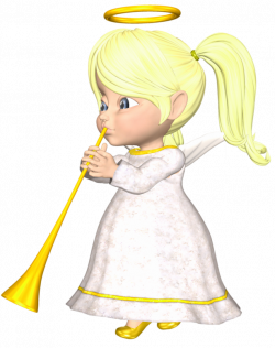 Cute Blonde Angel with Horn Large PNG Clipart | Gallery ...