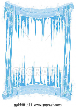 Vector Illustration - Ice frame with icicles snowflakes. EPS ...
