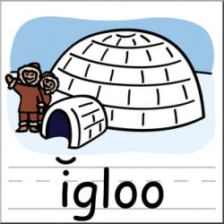 Clip Art: Basic Words: Igloo Color Labeled I abcteach.com   abcteach