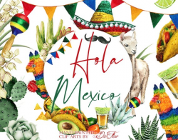 Watercolor Mexico Clipart Mexican Clip Art Invitation Illustration Fiesta  Llama Taco Cactus Tequila Pinata Sombrero Decor Mexican Symbols