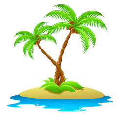 Island with Palm Trees Transparent Clipart | Floral and swoshes ...