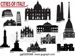 Vector Clipart - Silhouettes of italian cities. Vector ...