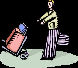 Traveler Pushes Luggage on Baggage Cart - Vector Image