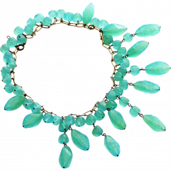 Chrysoprase Bib Necklace with Oblong Dangle and Round Beads ...
