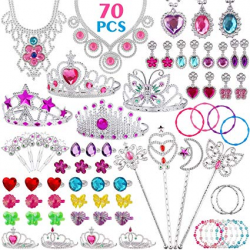 FittiDoll 70Pack Princess Pretend Jewelry Toy, Girl's Jewelry Dress Up Play  Set Pretend Play Jewelry Set for Girls