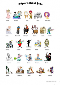Cliparts + worksheets about jobs worksheet - Free ESL printable ...