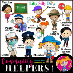 Community Helpers - Clipart set for careers, occupations, community jobs,  teachers aid graphics for commercial use.