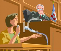 Judge Listening To a Tearful Witness During a Trial ...