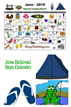 June National Day Calendar Printable - Father's Day, Camping ...