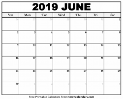 Printable June 2019 Calendar - towncalendars.com