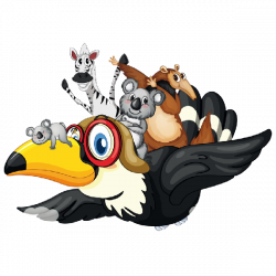 Cartoon Parrot Flying With Jungle Animals   desenhos   Pinterest ...