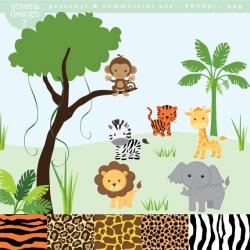 Jungle Safari Animal Clip Art - monkey, tiger, giraffe ...