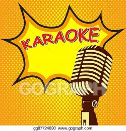 EPS Illustration - Karaoke. old style microphone on pop art ...