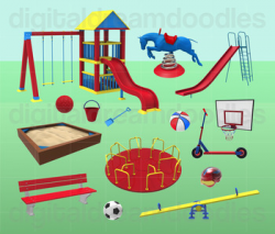 Playground Clipart - Kids Park Digital PNG Graphics