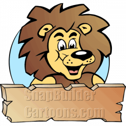 Lion King Head with Wood Plank Board