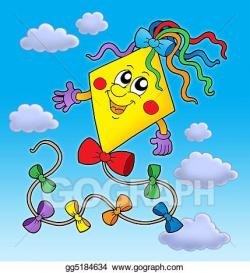 Clipart - Cute kite on blue sky. Stock Illustration ...