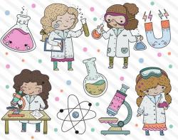 Cute Science Girl Clipart, STEM Clipart, Stem Girls Clip Art ...