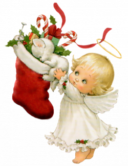 Cute Christmas Angel with White Kitten and Stocking Free PNG Clipart ...