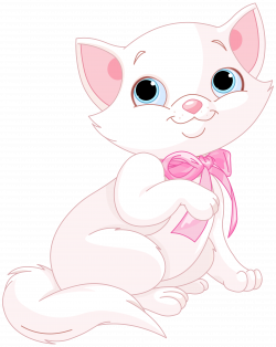 Kitten Cat Clip art - Cute Pink and White Cat PNG Clipart Image 4849 ...