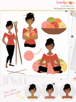 Knitting woman character clipart, crafter woman clipart set ...