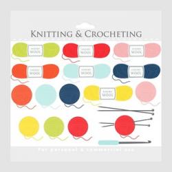 Knitting clipart - crochet clip art, crocheting knit wool knitting needles,  yarn