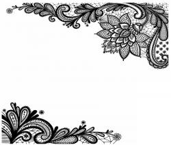 Black Lace Print On White