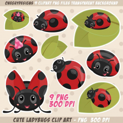 Cute Ladybug Clipart. Ladybugs on leafs clip art. Instant download PNG file  300 DPI.
