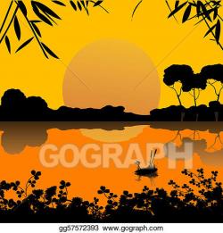 Vector Clipart - Sunset on a lake scene. Vector Illustration ...