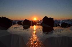 Clipart - Medium Poly Beach Sunset