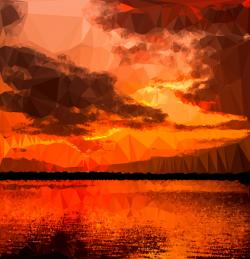 Clipart - Low Poly Ocher Sunset
