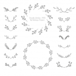 Doodle Divider Clipart Hand Drawn Divider Hand Drawn Laurel Doodle Foliage  Foliage Frame Commercial Use